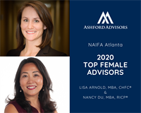 Lisa Arnold and Nancy Du of Ashford Advisors Named NAIFA-Atlanta 2020 Top Female Advisors