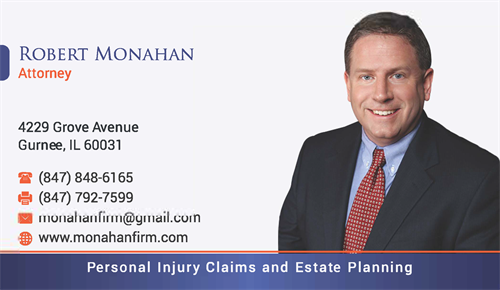 Business Card - Attorney Robert A. Monahan - Injury Work and Estate Planning