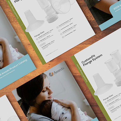 Magazine / Catalog layout for Ameda Inc. in Buffalo Grove.