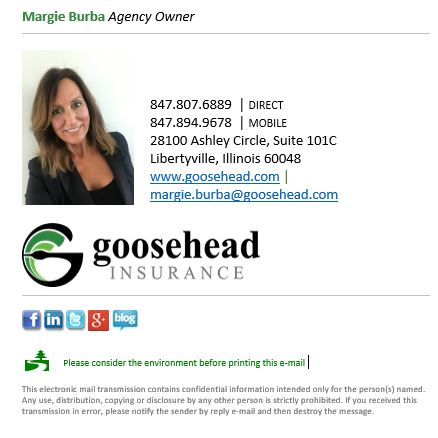 Home, Auto, Flood, Builders Risk - Margie Burba - Goosehead Insurance