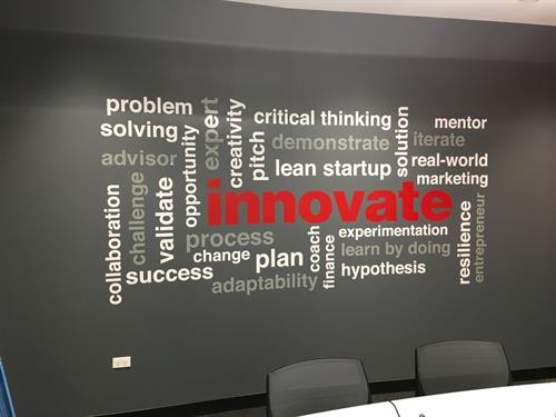 Word Cloud on the wall at Mundelein High School Innovation Center