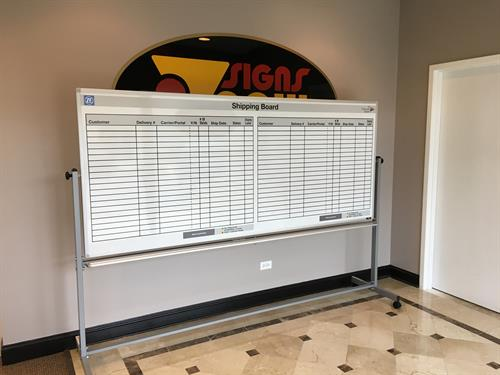 Custom magnetic dry erase board for ZF Industries, designed and manufactured by Signs now Mundelein