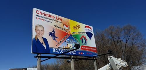 16' tall by 32' wide billboard wrap. Designed and installed by Signs Now Mundelein
