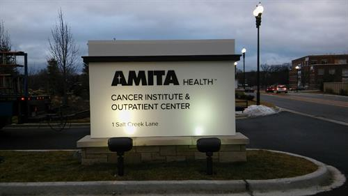 Amita Health Freestanding Sign (at Night)