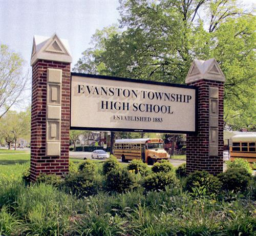 Evanston Township High School Freestanding Sign