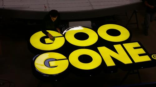 Goo Gone Wall Sign Being Finished in our shop!