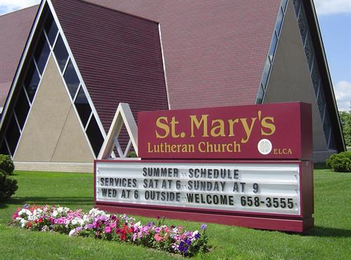 St. Mary's Lutheran Church Freestanding Sigh & Attraction Board