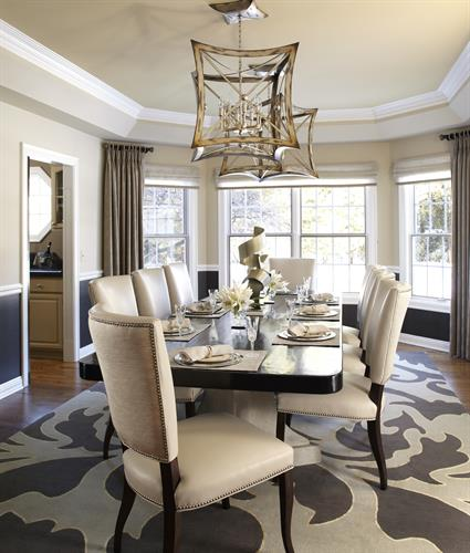 This elegant dining room seats 12, whether for family and friends or business entertaining.