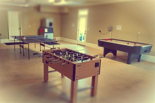 Ping pong, foose ball, and air hockey