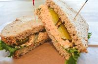 Pimento Cheese with Bread & Butter Pickles on Multi-Grain Bread