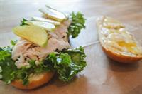 Oven Roasted Turkey with Green Apple, Tumeric Honey and Brie on a Baguette