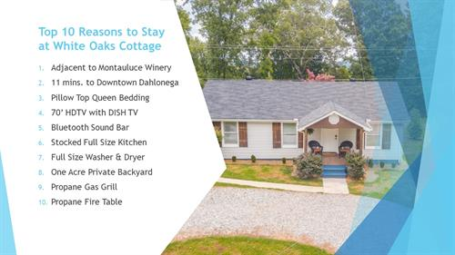 Top 10 Reasons to Stay At White Oaks Cottage