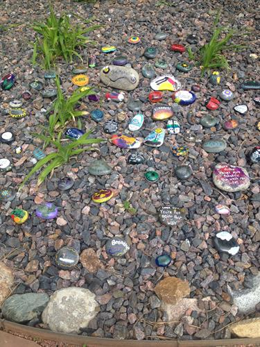 Kindness Rocks the Foothills Rock Garden at Aspen Park Village Center Courtyard