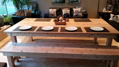 Farm table with clear matte finish.