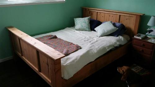 Wood bed.
