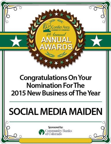 2015 Conifer Area Chamber of Commerce New Business of the Year Nominee
