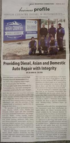 "WOW!! It is such a blessing to be featured in the MOUNTAIN CONNECTION!  Come by and say ""Hi"" anytime, we look forward to meeting you and discussing all of your automotive repair and performance needs."