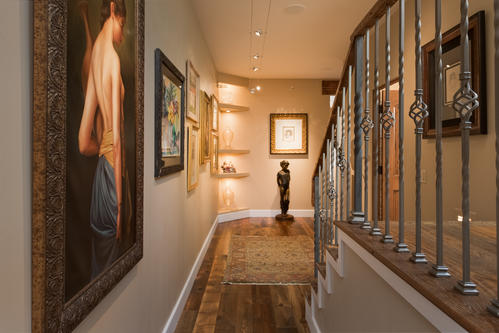 Hallway with gallery lighting