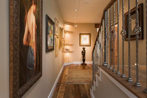 Hallway with gallery lighting