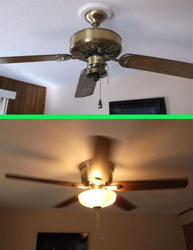 Ceiling fan removal and replacement.