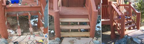 Rebuilding sagging/rotting deck steps.