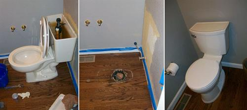 Toilet removal and replacement amidst bathroom remodel.