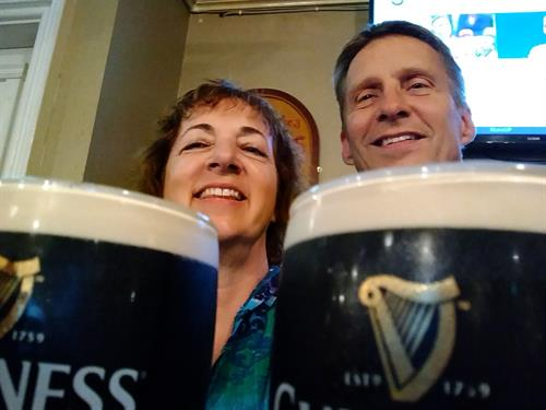 Kathie & Dan with Guinness