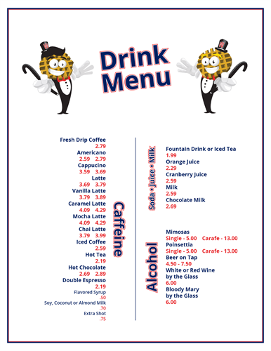 Waffle Brothers Drink Menu Back