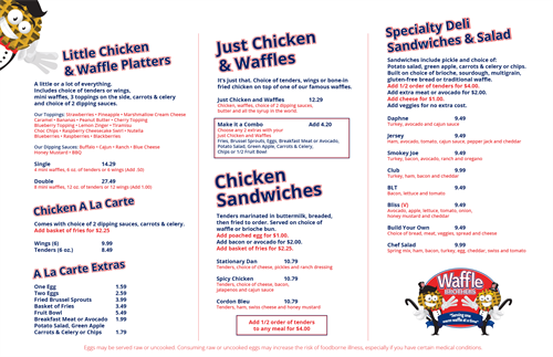 Waffle Brothers Menu Front