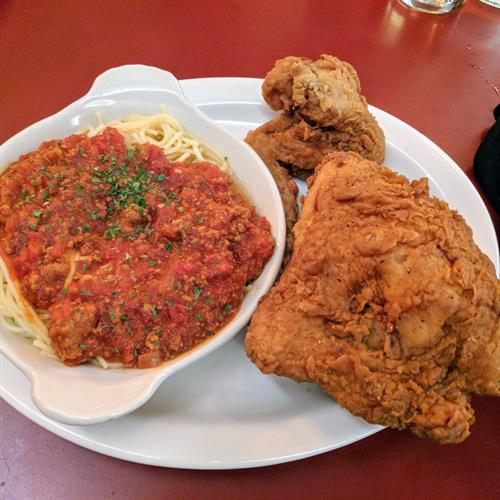 Fried Chicken with spaghetti family style