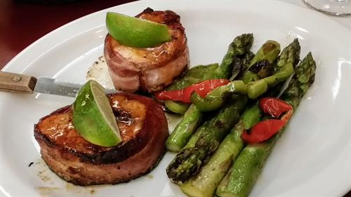 Bacon wrapped Scottish Salmon with asparagus