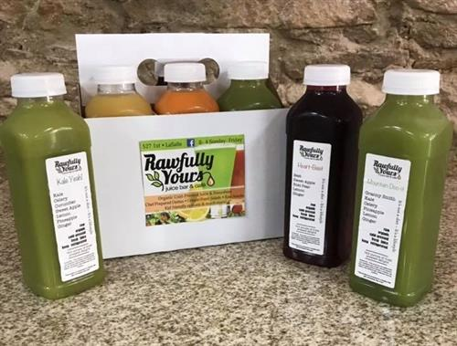 Cold-pressed Juice Cleanses available. Give us a call to hear about it!