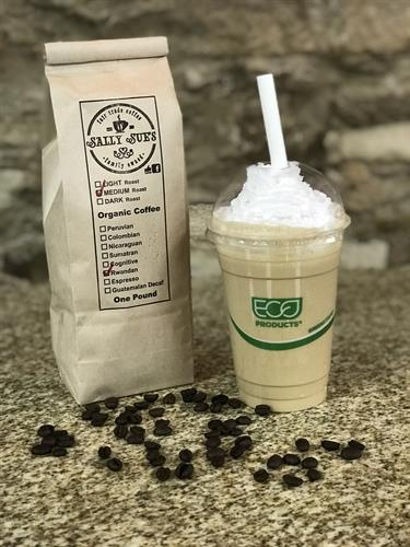 Organic French-Pressed Local Roasted Coffees including a delicious Cold-brew Coffee Smoothie.