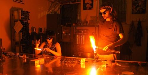 Elektra and John at work.