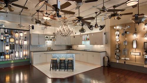 Ceiling Fan & Kitchen Lighting Display at Idlewood Electric.
