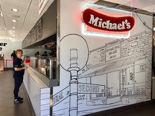 Our Vintage Michael's Sign with the Original Building