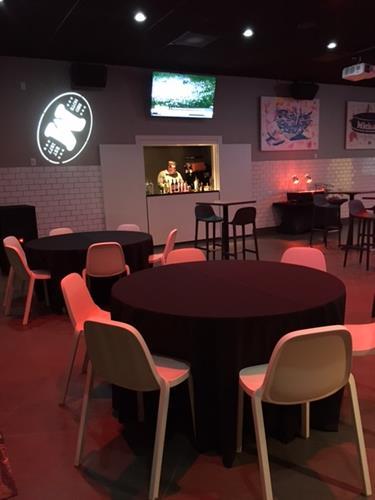Our Full Service Bar & Spinning Gobo for Logos