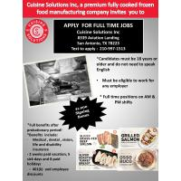 Cuisine Solutions Looking to Fill Additional 200 positions