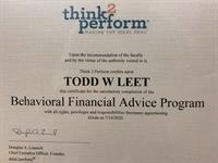 Behavioral Financial Advisor certification earned by Todd Leet, Financial Professional