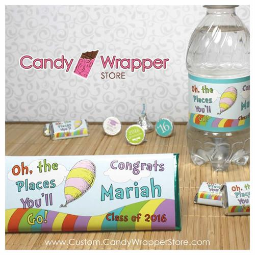 Graduation Party Favors: Chocolate bars, miniatures, kisses, water bottle labels