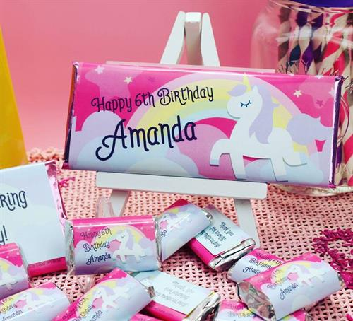 Unicorn themed birthday candy wrappers