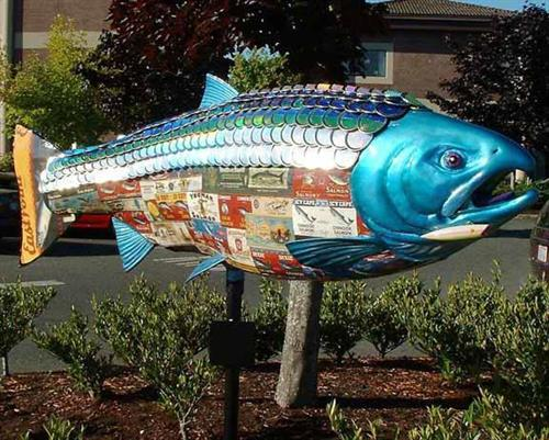 Michelle Pugh was the lead artist on the City of Olympia Salmon Run public art sculpture project for the WA State Parks and Recreation Commission as on-call Senior Graphic Designer.