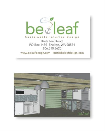 Logo and business card design for BeLeaf Interior Design