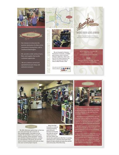 Brochure design for Loose Ends Fiber Arts