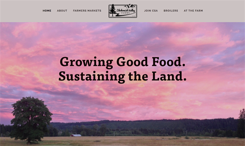 Website design for Skokomish Valley Farms