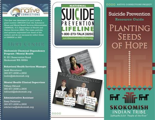 Brochure design for the Skokomish Tribe Health Clinic Suicide Prevention Program
