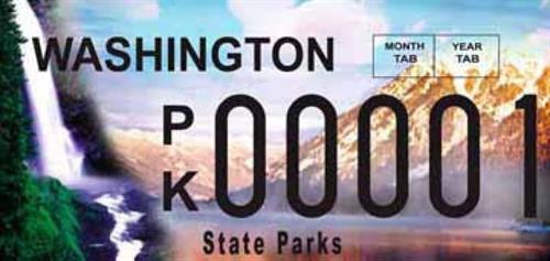 Michelle Pugh designed the special license plate for the WA State Parks and Recreation Commission as on-call Senior Graphic Designer.