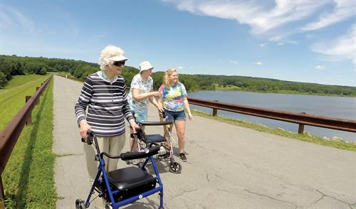 Cribbs Residents out for a walk at Woodcock Dam
