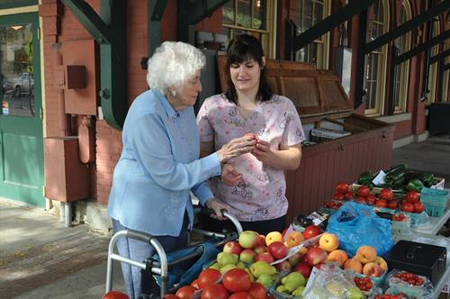 Help at Home with Webury Client and Companion visit the Market House in Meadville