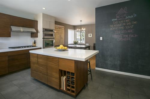 Clever chalk wall in kitchen at 10843 Farragut Dr. in Culver City